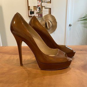 Jimmy Choo Crown Peep Toe Platform Pumps